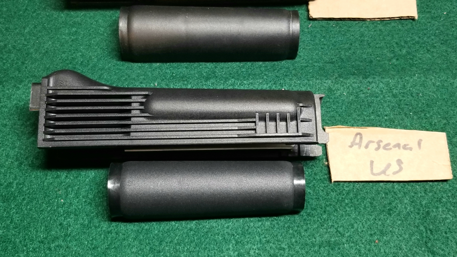 Arsenal handguard set side view.  The Izhmash gas tube cover is at the top.