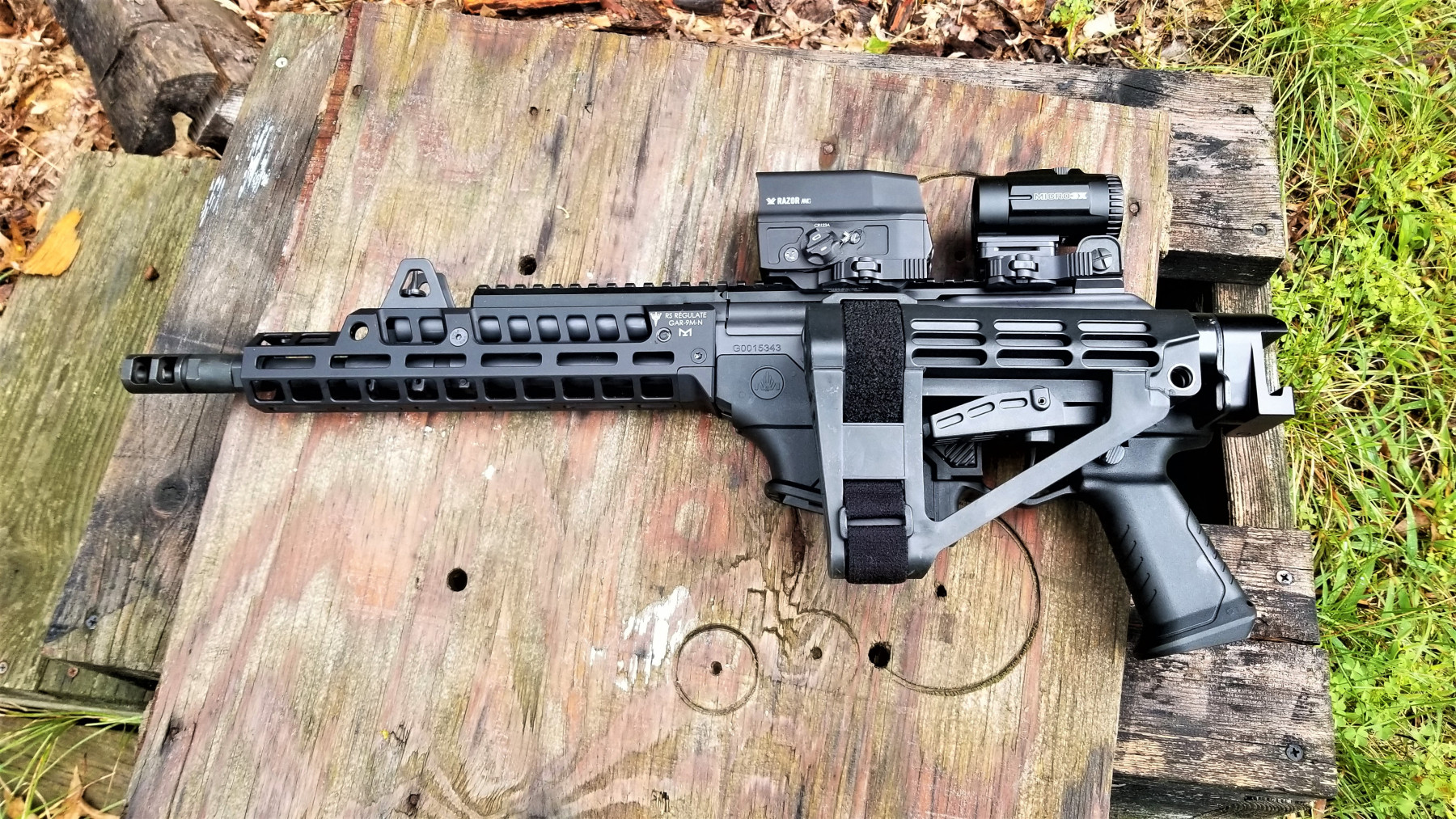 The FSM-AR folder is left-folding.  It does obstruct the charging handle and can only be folded for storage but must be open straight to operate.