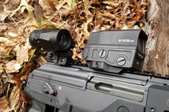 View of the Vortex Mini 3X magnifier folded out of the way.  It can be readily removed or folded if you don't need it.  The quick release mechanism is solid.